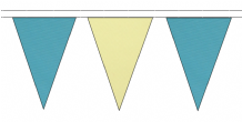 SKY BLUE AND BEIGE TRIANGULAR BUNTING - 10m / 20m / 50m LENGTHS